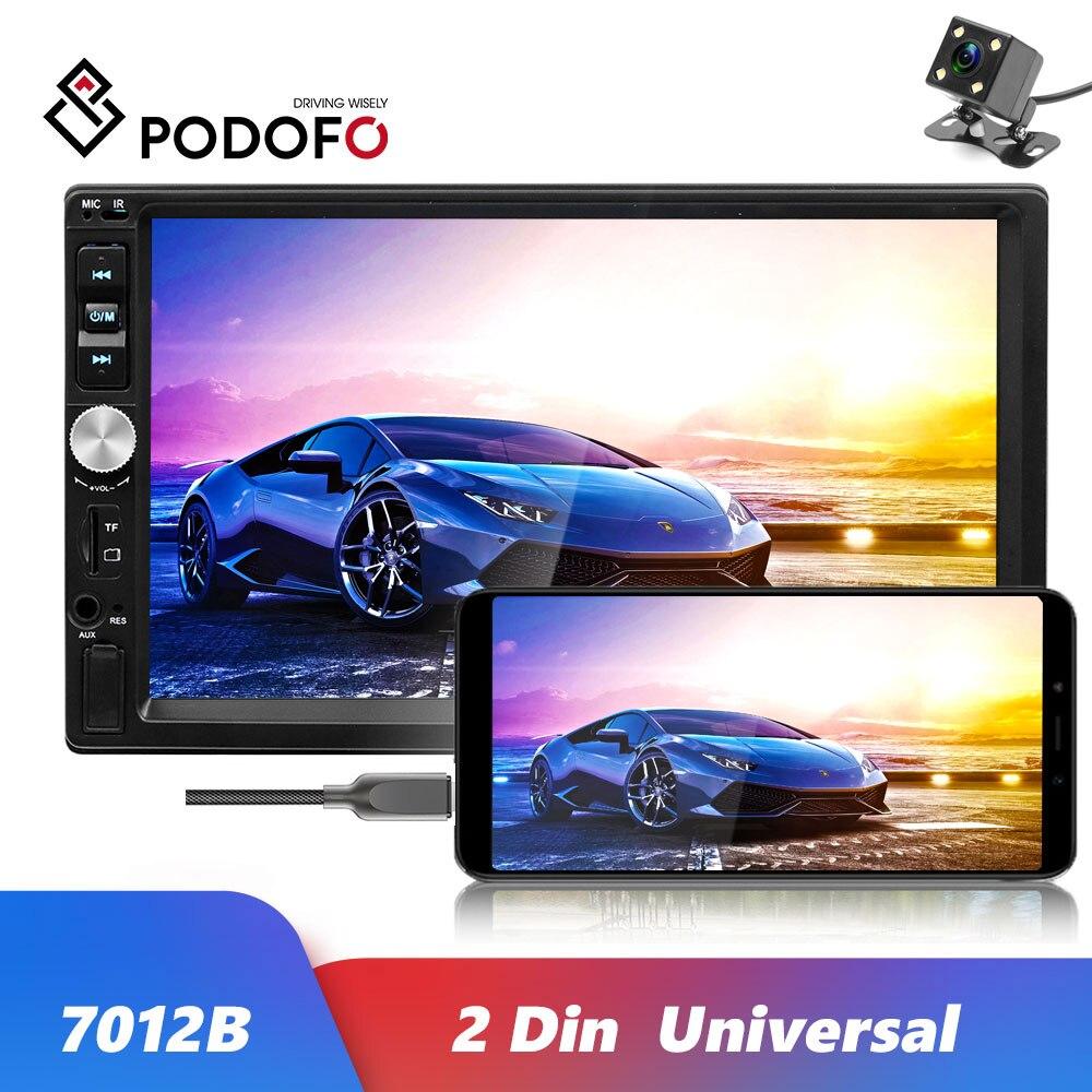"""Podofo Universal 2 din coche reproductor Multimedia 7012B 7 """"Autoradio 2din Bluetooth Estéreo auriculares Bluetooth Android enlace espejo Video MP5 jugador Auto"""