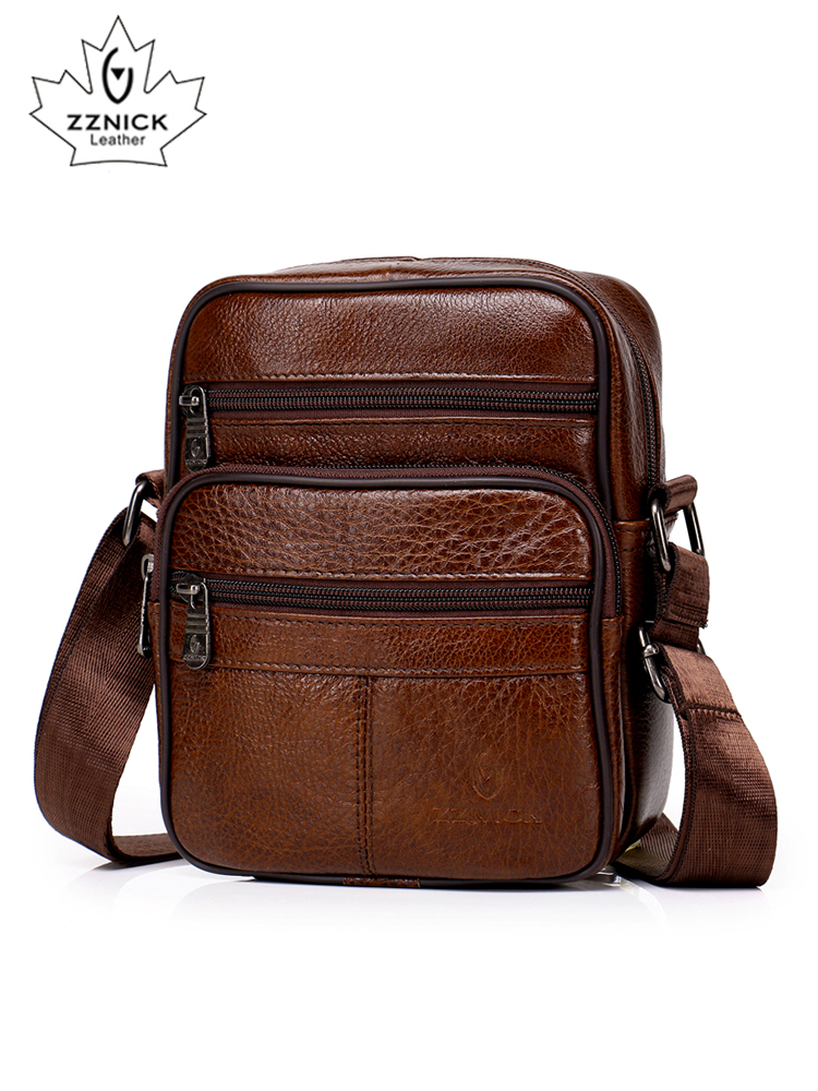 New Handbags Flap Messenger-Bag ZZICK Small Crossbody Men Hot-Sale Genuine-Leather Men's