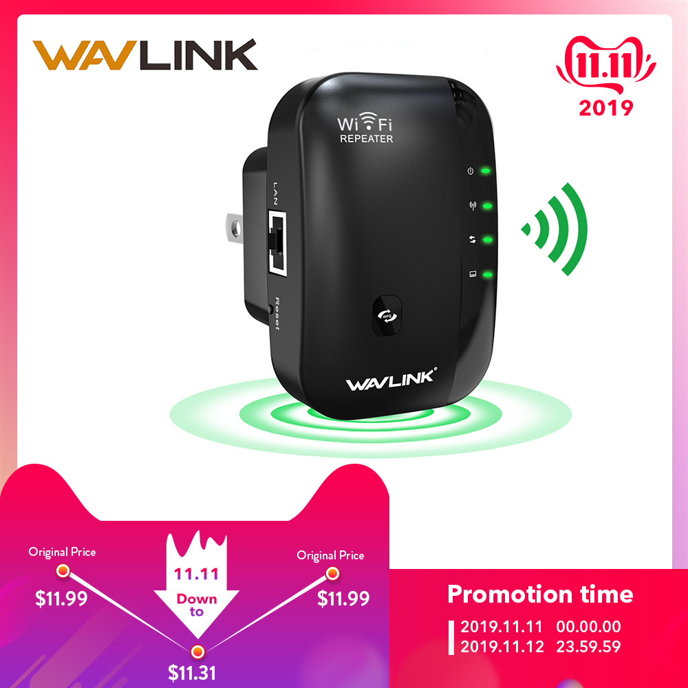 Wavlink N300 Wi-Fi Range Extender Wireless WiFi Repeater 300mbps Access Point Reset WPS Portable Wifi Signal Booster Antennas