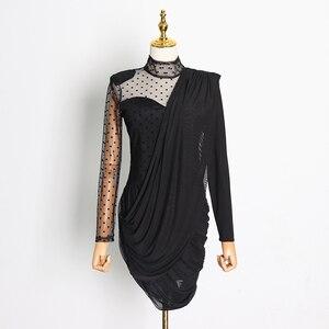 Image 5 - Женское асимметричное платье TWOTWINSTYLE, белое Сетчатое платье с воротником стойкой, пышными рукавами, высокой талией и рюшами на лето 2019