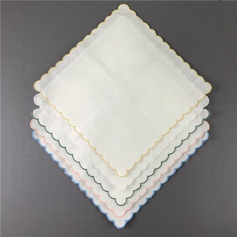 Set Of 12 Wedding Handkerchiefs Ladies Handkerchief Irish Linen Color Embroidered Scalloped Edges Hankies 30*30 CM