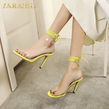 SaraIris 2020 New Brand Design Plus Size 49 Women Pumps Super High Heels Cross-tied Summer Party Sexy Woman Sandals(China)