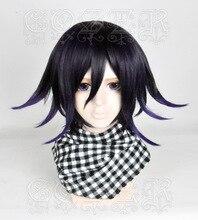 Peruca danganronpa v3 koukichi kokichi ouma, peruca de cabelo sintético resistente ao calor, fantasia cosplay + touca