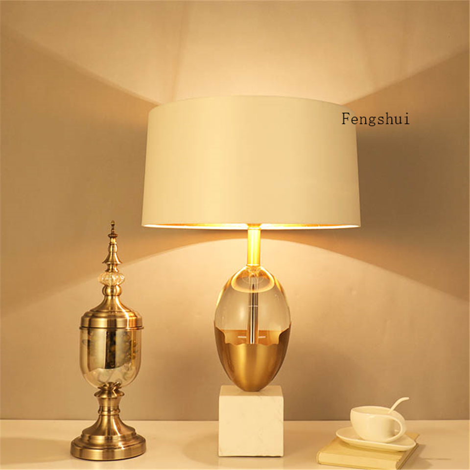 Modern LED Table Lamp Metal Frame Natural Marble Glass Table Lights Lighting Villa Living Room Bedroom Desk Lamp Standing Lamp