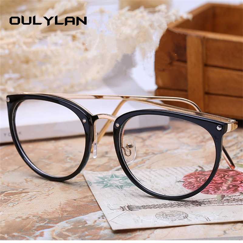 Oulylan Cat Eye Glasses Frames Women Transparent Optical Eyeglasses Fashion Metal Frame Prescription Eyewear