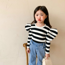 Girls Sweaters Knitted Long-Sleeve Korean-Design Striped Kids New-Arrival