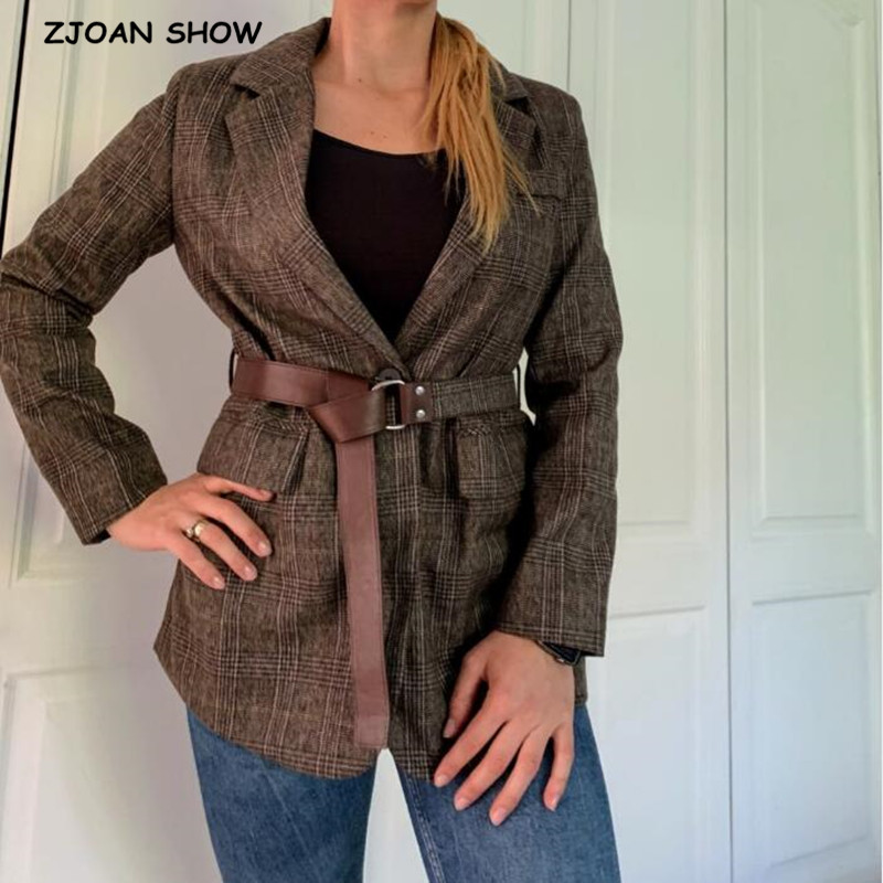 2019 New Autumn Winter Chic Gingham Plaid Blazer With Belt Vintage Women Long Sleeve Mid Long Suit Office Lady Coat Outwear