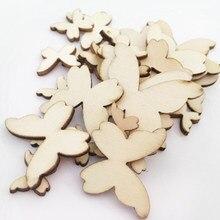 100 pçs 10mm borboleta forma log cor de madeira chips 15mm 20mm ornamentos de madeira formas enfeite diy artesanato decorações