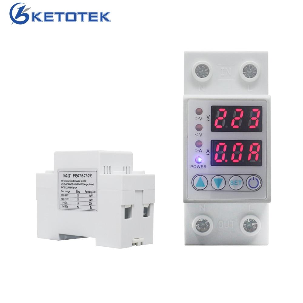 63A/40A 220V Din Rail Adjustable AC Voltmeter Ammeter Over Under Voltage Current Protective Device Voltage Surge Protector