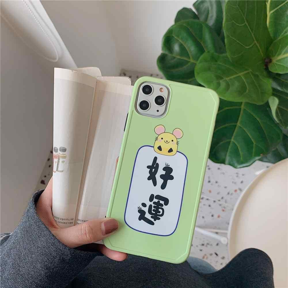Loverly милый мультфильм удачи рамка мышка чехол для телефона для iPhone 8 7 plus X 11 Pro XS Max XR 8Plus розовый Матча зеленый задний Чехол