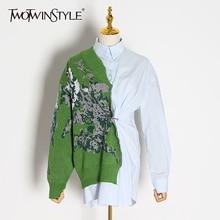 TWOTWINSTYLE טלאים Hit צבע Kitting חולצות נקבה דש צווארון ארוך שרוול גבוהה מותן טוניקה סדירה חולצות נשים אופנה