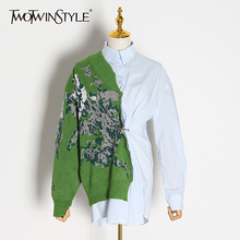 TWOTWINSTYLE Patchwork Hit Color Kitting Shirts Female Lapel Collar Long Sleeve High Waist Tunic Irregular Blouses Women Fashion