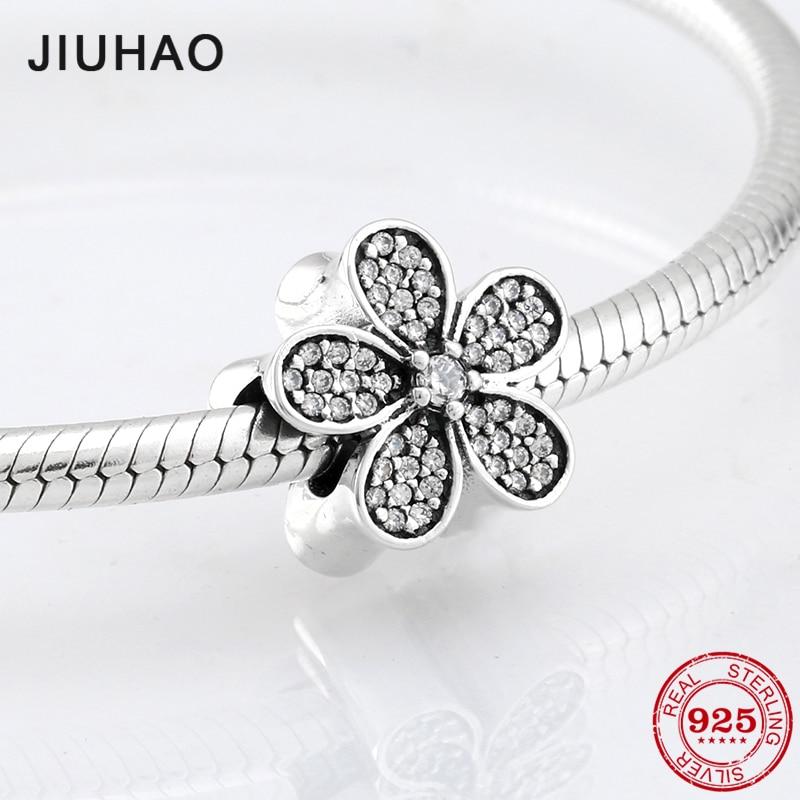 Real 925 Sterling Silver Charm Flower Zircon Beads Womens Accessories Trendy 2018 Fit Original Pandora Charm Bracelet Jewelry