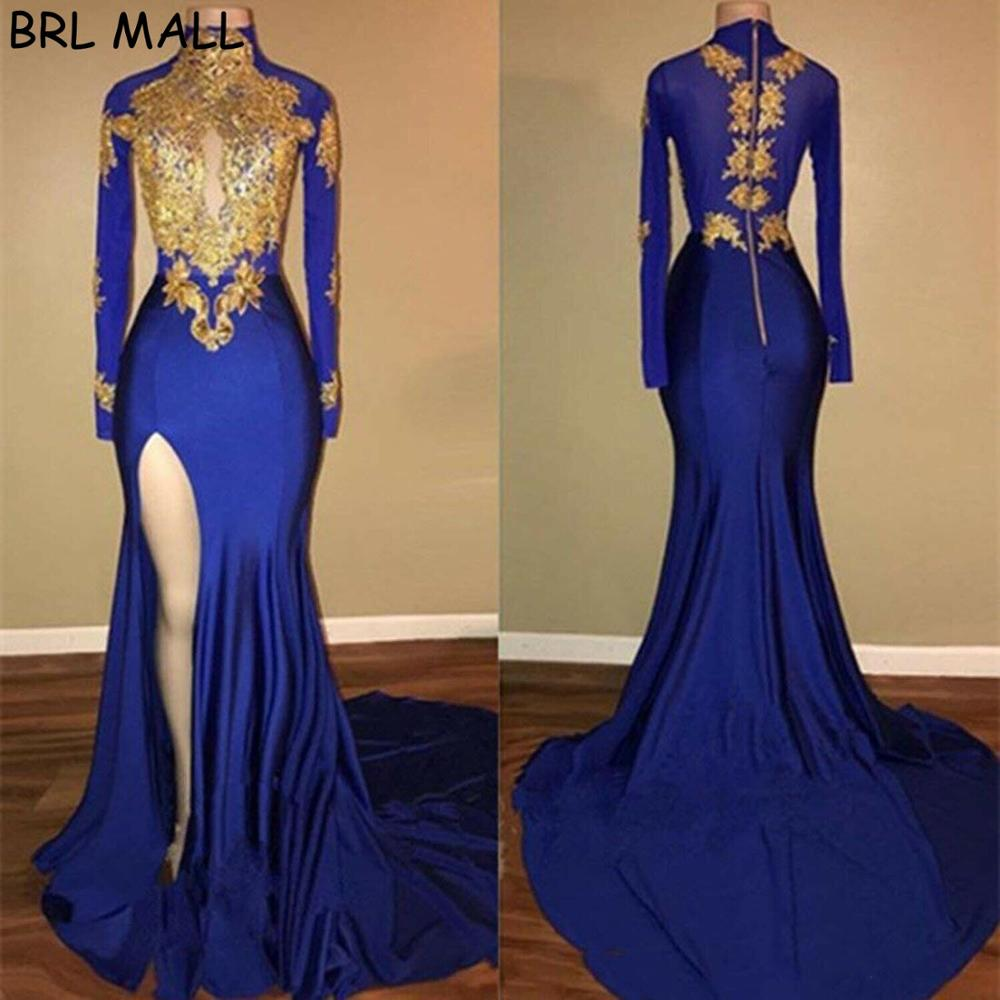 Sexy Blue Satin Mermaid Prom Dresses For Teens Girl Gold Appliques Formal Evening Dresses Cheap Long Party Bridesmaid Ball Gowns
