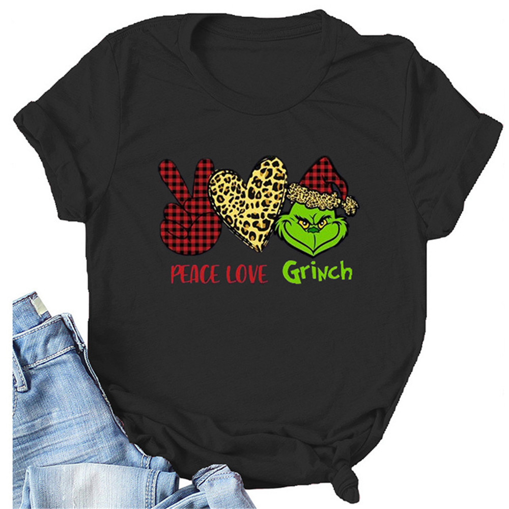 Peace Love Grinch Pirint T Shirt Women Funny Plaid Graphic Tees Harajuku Short Sleeve Tops Female Aesthetic Clothes 2020 1