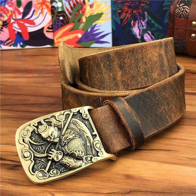 Solid Brass Monkey Belt Buckle Yellow Belt Leather Ceinture Men's Belt Cowboy Jeans Belt Male Strap Wide Belts For Men MBT0594