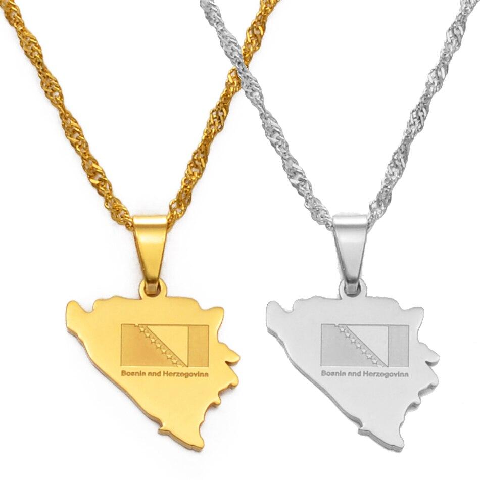 Ожерелье с подвеской Anniyo с картой Боснии и гервицы для женщин и девушек, очаровательные ожерелья золотого цвета с картами гервины, ювелирны...
