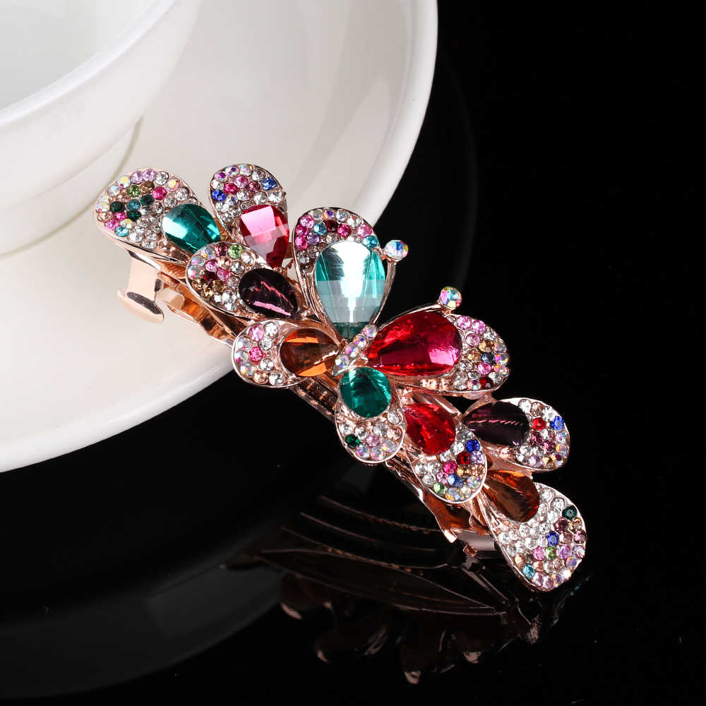 מבריק קריסטל שיער קליפ פרח סיכות שרף פרחוני קוקו מחזיק בצבוץ כובעים סטיילינג כלים אופנה שיער אבזרים