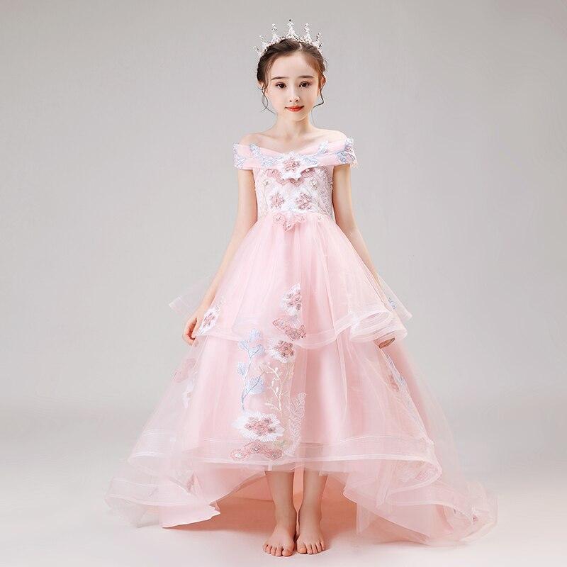 ombro pérolas de luxo princesa criança vestido de festa d163
