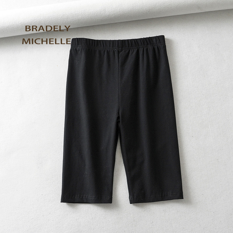 BRADELY MICHELLE sexy women cotton high waist elastic pure color slim Knee-Length bikeshorts leggings female 5