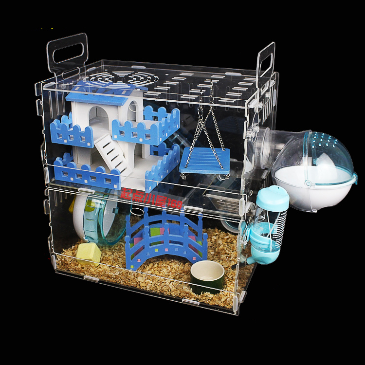 Pet Products Transparent Acrylic Hamster Double-decker Villa Cage Is Suitable For Four Seasons Different Toy Accessories