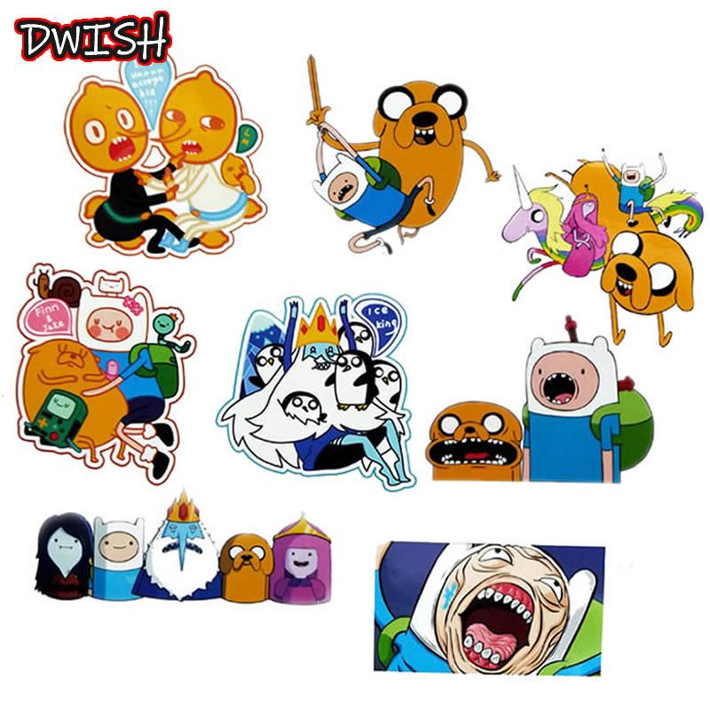 8pcs/Pack Cartoon Adventure Time Waterproof PVC Stickers Skateboard Guitar Suitcase DIY Laptop Motorcycle Phone Graffiti Sticker