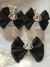 Bling couronne bijoux strass noir grand nœud personnalisé nom de bébé souvenir 1st cadeau danniversaire bébé chaussures avec bandeau