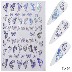 Nail Decorations 3D Butterfly Nail Art Stickers Adhesive Sliders Colorful Nail Transfer Decals Foils Wraps Laser TSLM1