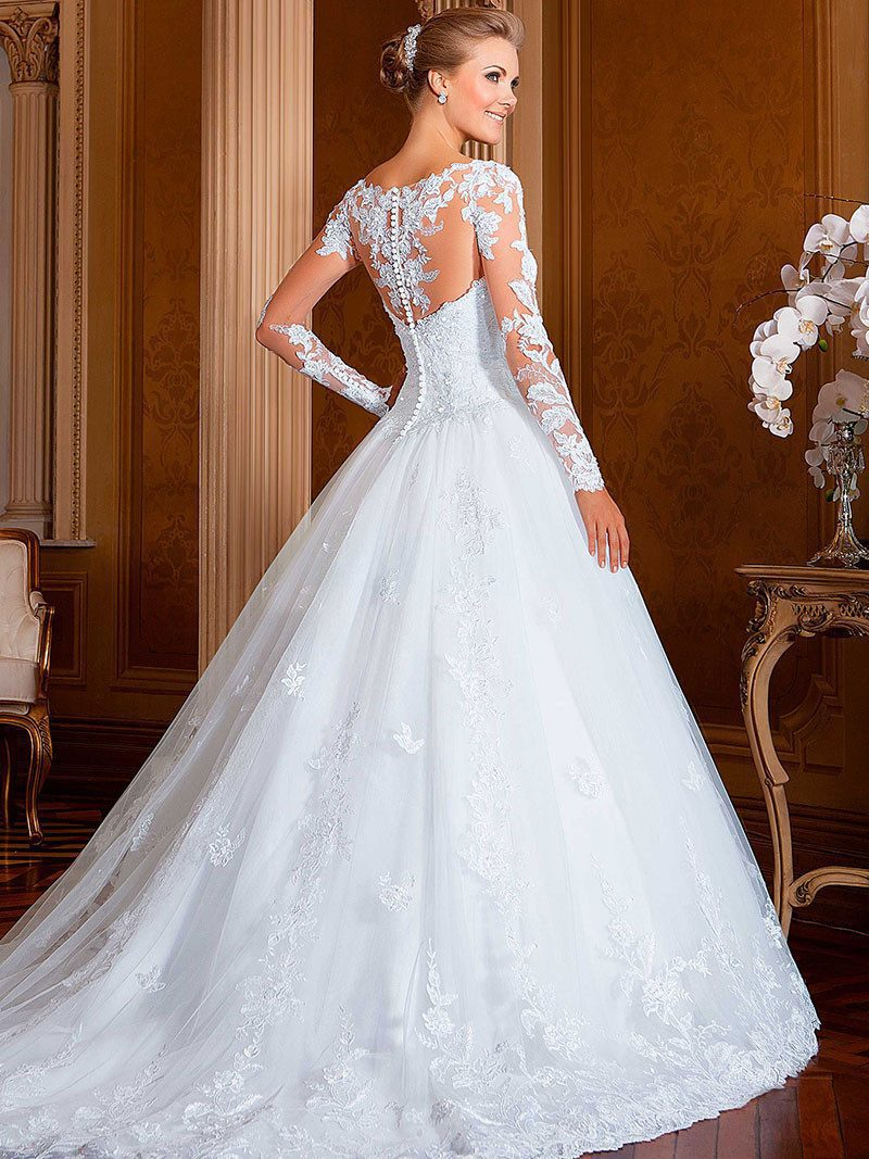Wedding Gowns A Line Vestidos De Noiva 2016 Western Style Long Sleeves Wedding Dresses Lace 2015 Vestidos De Noiva