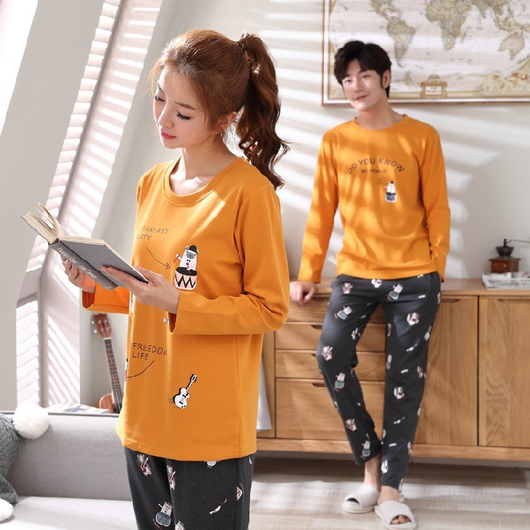 2020 Erkek Pijama Winter Of New Lovers Pajamas Women Long Sleeve Han Edition Cute Leisurewear Suit Young And Middle-aged Men
