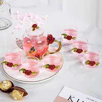 Rosa rossa Dello Smalto Di Cristallo di Vetro Tazza di Tè Insieme Teiera Set Fiore tazza di Tè Tazze di Vetro per Bevande Calde e Fredde Casa ufficio Tè, Articoli e Attrezzature set Regalo