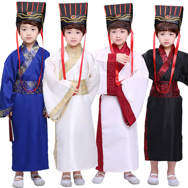 7Color Kids Chinese Ancient Costume Traditional Dynasty Official Stage Performance Party Clothing Folk Dance Hanfu Costumes Set 1