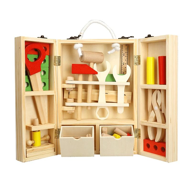 Bébé en bois enfants poignée boîte à outils jeux d'apprentissage jouets éducatifs vis assemblage jardin jouets pour enfants garçon