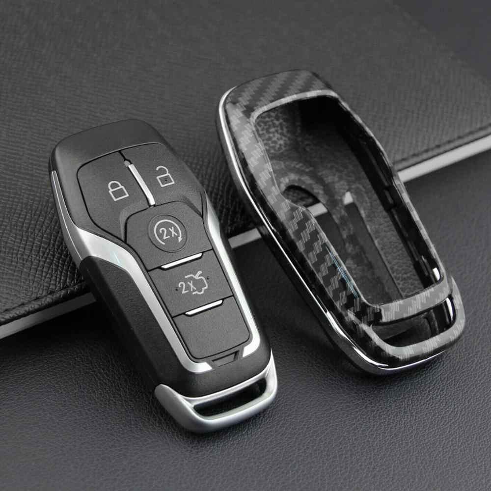 2019 haut à la mode en Fiber de carbone dur Smart clé couverture pour Ford Lincoln accessoires chaîne étui support en gros livraison rapide CSV