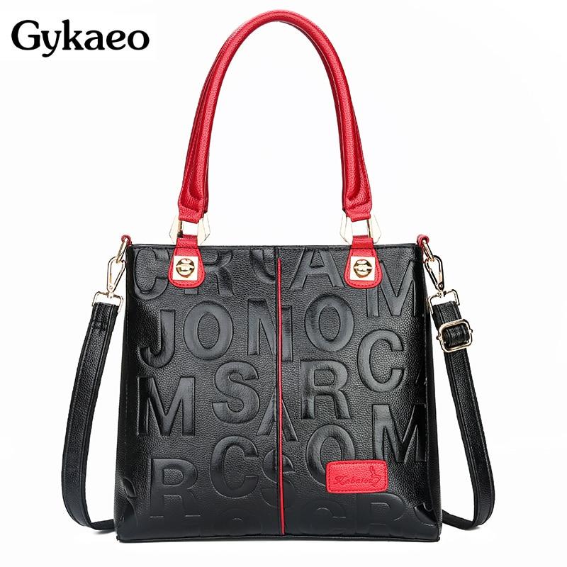 Gykaeo Luxury Handbags Women Bags Designer Fashion Letter Black Red Tote Bag Ladies Large Capacity Messenger Shoulder Bags Bolsa