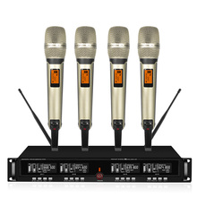 4-channel Wireless Microphone System Uhf Karaoke System Wireless 4 Handheld Microphone Stage Church For Party uhf wireless microphones with screen 100m distance 2 channel handheld mic system stage karaoke wireless microphone