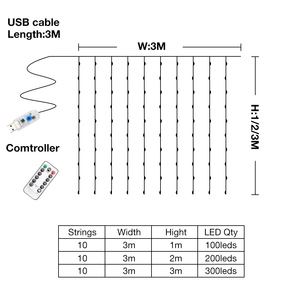 Image 3 - LED Curtain Lamp Garland White Copper String Light Remote Control USB fairy Curtain light Garland Bedroom Christma Light Outdoor