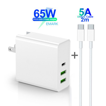 65W TYPE-C USB-C Power Adapter PD60W 45W QC3.0 Charger For USB-C Laptop MacBook Pro/Air iPad Pro 12W for Samsung iPhone 2M Cable