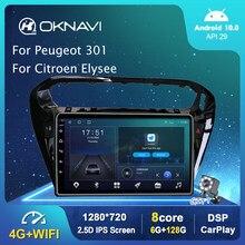 Schwarz Android 10,0 Auto-Radio-Player Für Peugeot 301 Für Citroen Elysee 2014-2018 Auto GPS Stereo DSP Carplay 4G 9