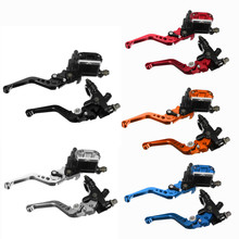 A pair of  Black Red Blue Orange Silver Metal 7/8 22mm universal brake clutch handle pumps for motorcycle