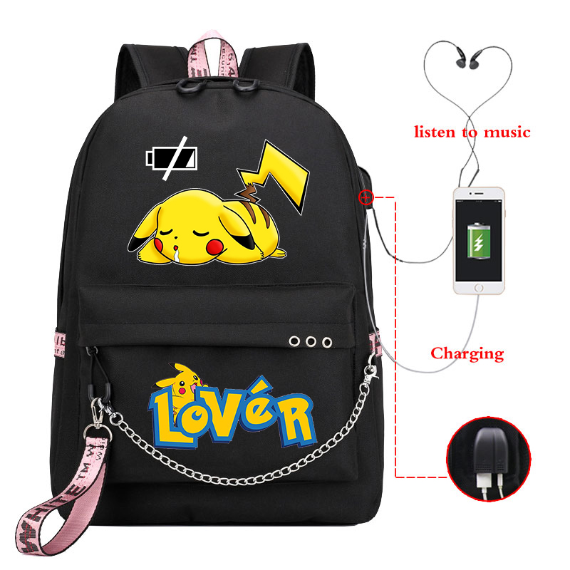 Mochila Pikachu Pokemon Backpack Women School Bags For Teenage Girls Usb Charge Pink Bagpack Zainetto Donna Laptop Backpack Kids