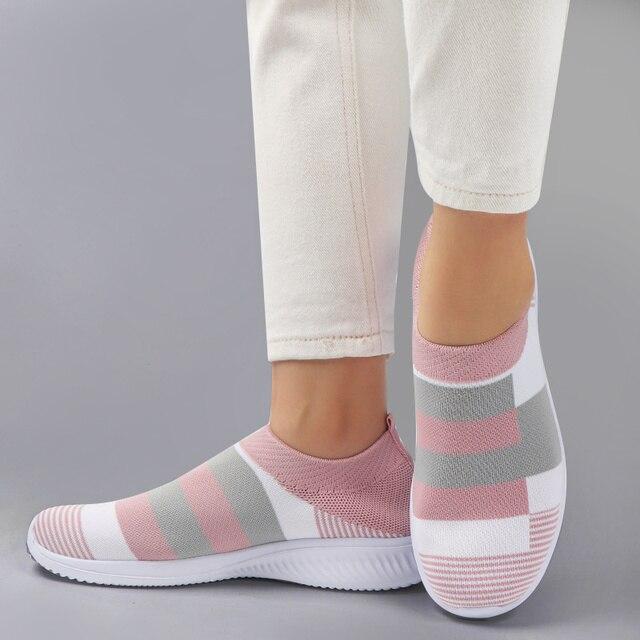 Vulcanizado sapatos tênis feminino formadores tênis de malha senhoras deslizamento-na meia sapatos de cristal sparkly zapatillas mujer casual 3