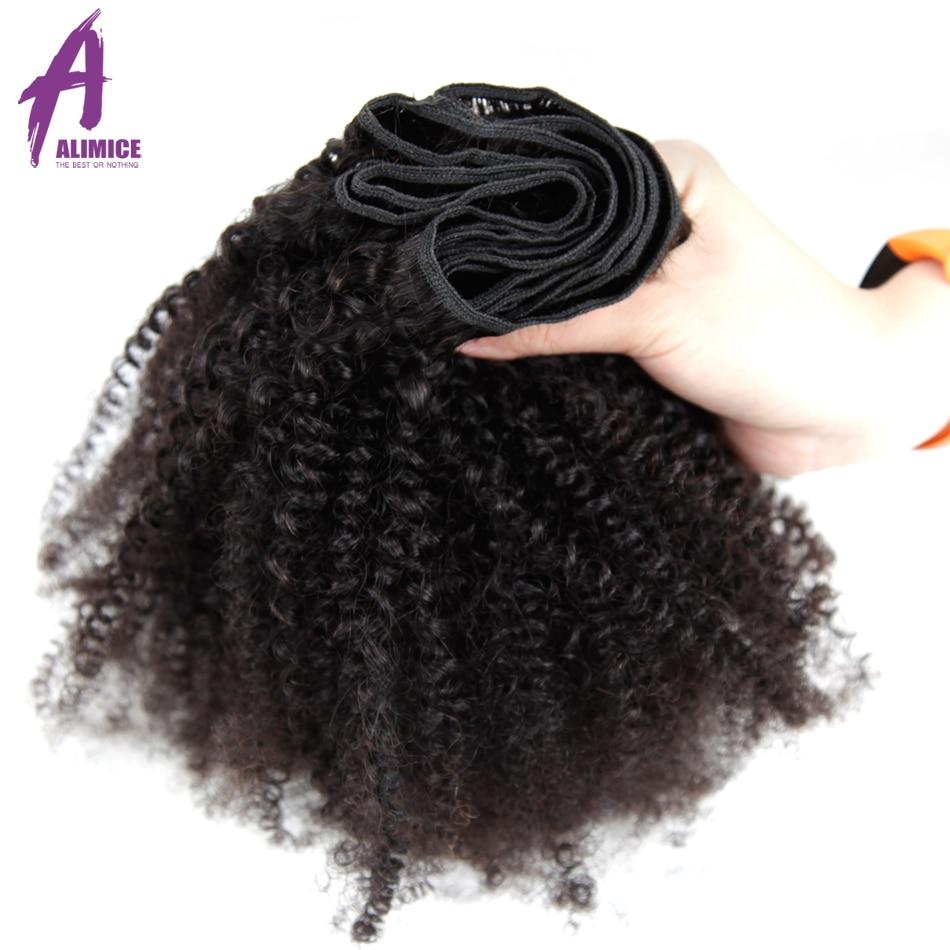 Paquetes de pelo brasileño de pelo rizado Afro paquetes de pelo humano 100% Real paquetes de 8 30 pulgadas 4 paquetes extensión de cabello Remy L - 5
