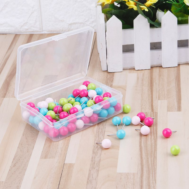 100 Pcs Colorful Assorted Push Pins Drawing Cork Board Nails Photo Wall Office School Supplies DXAC