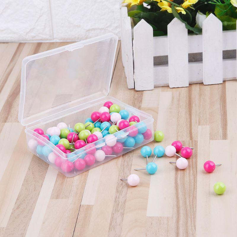 100 Pcs Colorful Assorted Push Pins Drawing Cork Board Nails Photo Wall Office School Supplies DXAC