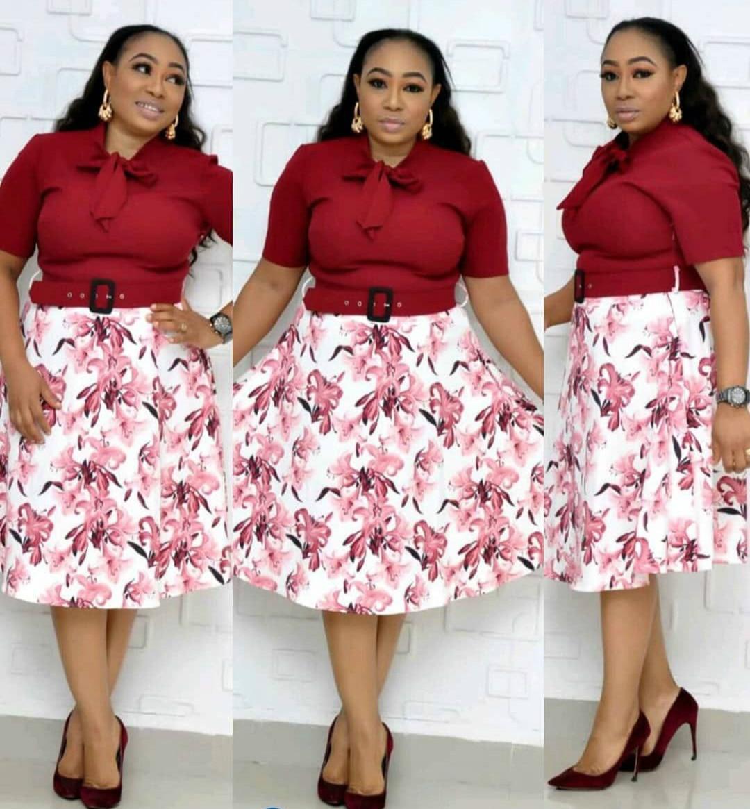 2019 Autumn Elegent African Women O-neck Polyester Printing Plus Size Knee-length Dress XL-4XL