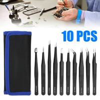 10PCS ESD Pointed Curved Flat Tweezers Set Stainless Steel High Precision Trimming Edging Hand Tool Anti-Magnetic