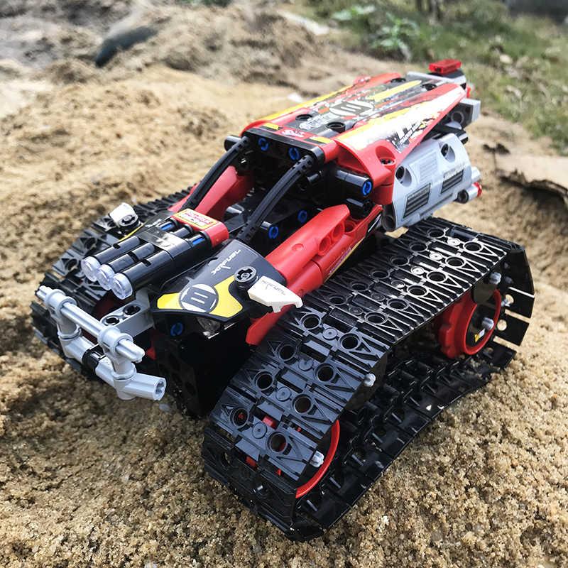 Technic RC รถติดตาม Race Stunt รถบล็อกอาคาร APP วิทยุควบคุมระยะไกลรถบรรทุกของเล่นสำหรับเด็ก