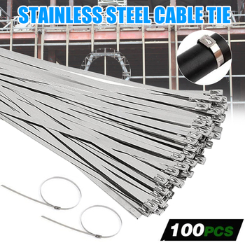 100PCS 4.6x100/250/150/200/300/350mm Multi-Purpose Locking Cable Metal Zip Ties Stainless Steel Self Locking Zip Tie JS23 100pcs white self locking cable tie high quality nylon fasten zip wire wrap strap 2 5x100mm 2 5x150mm plastic