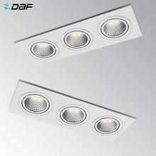 [DBF]Super lumineux encastré LED Dimmable 3 tête carré Downlight COB 15W 21W 30W 36w LED Spot plafonnier ca 110V 220V